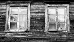 Old Houses and Windows #Viljandi #Estonia #monochrome (Leshaines123) Tags: estonia baltic traditional wooden house dolls texture monochrome composition framing canon eos