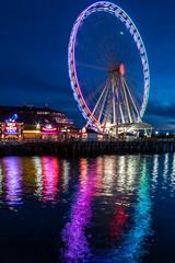 Seattle Great Wheel (Oleg S .) Tags: reflection night usa ferriswheel bluehour water seattle washingtonstate