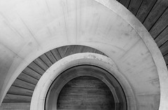No Hesitation (Douguerreotype) Tags: monochrome abstract spiral buildings concrete city bw uk geometry gb england british blackandwhite mono stairs architecture britain geometric london urban helix steps