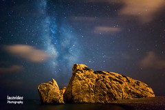 Between the clouds. (Andreas Iacovides) Tags: milkyway galaxy night nightphotography landscape nightscape aphrodite rock sea clouds canon eos 5d mark iii