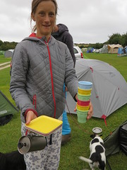 colourful camping cups and plates (squeezemonkey) Tags: dorset swanage camping campsite tomsfield tents portrait cups campingequipment dog