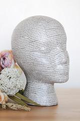 Decoupage Mannequin Head (xmoonbloom) Tags: tutorials crafts etsy decoupage ephemera paper modpodge mannequins heads foam styrofoam displays vendors wigs projects