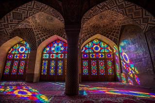 early morning at pink mosque, shiraz, iran