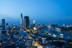 saigon blue hour (Greg Rohan) Tags: nightlights lights hochiminhcity nightphotography d7200 2017 asia photography vietnam blue city saigon cityscape skyscrapers sky skyline river