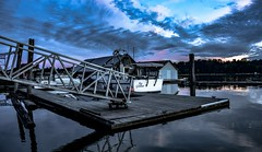 Top Gunnar (Christie : Colour & Light Collection) Tags: fraserriver river boat boathouse platform ramp dramatic sky bluehour moody mood bc canada