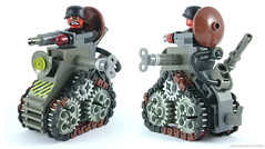 Mini Racers: Das Panzerspielzeug (Unijob Lindo) Tags: lego leg godt klocki brick bricks toy toys tank panzer armour armor war gear gears tread links armoured red skull brown black grey gray bluish dark light old windup wind up motor key metal slug stripes danger racing race car vehicle kart karting racers gun barrel turret vintage moc own creation helmet stahlhelm army chibi small tiny engine technic system dieselpunk fig figure head mighty micros micro fighters