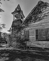 Doucette Union Church (1902) (Mike Schaffner) Tags: abandoned bw blackwhite blackandwhite chapel church decay decayed derelict deserted dilapidated doucetteunionchurch monochrome old overgrown ruins steeple woodville texas unitedstates us