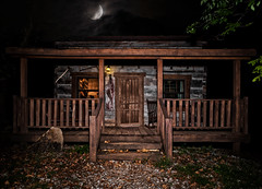 The Cabin (Mister Joe) Tags: nightphotography cabin woods forest shawnee shawneenationalforest cabininthewoods hdr evildead evildead2 ashvsevildead log wood nature moon porch moonlight illinois sony dark southernillinois moody spooky wooded secluded architecture elizabethtown old oldcabin wilderness rockingchair door groovy