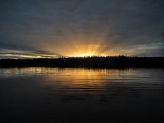 Sunset on H Pond (Orion 2) Tags: hpond beaver wilderness canoeing sunset dusk evening sunrays newfoundlandandlabrador canada