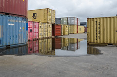 Containers (AstridWestvang) Tags: containers harbour industry larvik puddle reflection