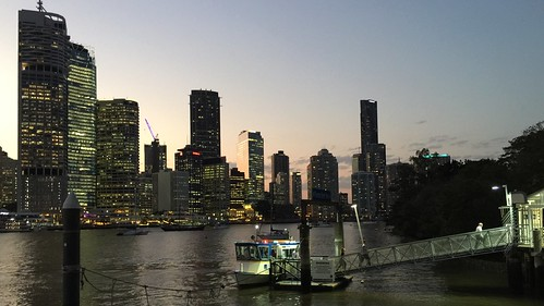 Brisbane skyline at dusk, Queensland