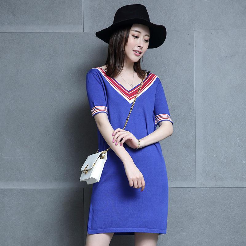 Europe 2017 new Korean V collar loose knit short sleeved summer dress fashion temperament female thin silk