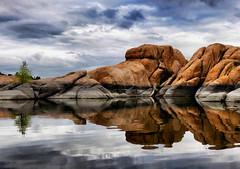 Watson Lake under a clouded sky (lb's photopix) Tags: lake landscape reflection rocks boulders sky clouds cloudy arizona watsonlake