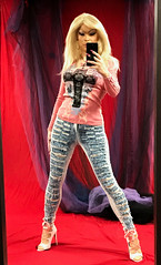 Selfie in the mirror: new Barbie look (Juliapanther Over 43 million views, thanks!!!) Tags: julia panther juliapanther blond blonde pink high heels posing model barbie jeans top makeup nails truecolorsmakeupartistry amandarichards