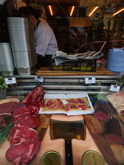 The Meat Cleaver (Steve Taylor (Photography)) Tags: stealk ribeye fillet cleaver axe butchers board rump sirloin book jar newspaper container lights tag shop window man uk gb england greatbritain unitedkingdom london chiller