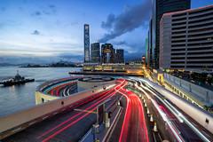 Vortex (J450N YANG) Tags: sonya7ii sonya7mkii sony sel1635gm cityscape hong kong city harbourcity 海港城 露天停車場 lighttrail icc longexposure night bluehour tsimshatsui