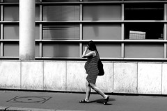 By going out of the hospital (pascalcolin1) Tags: paris13 salpétrière femme woman hopital hospital enceinte pregnant rayures stripes photoderue streetview urbanarte noiretblanc blackandwhite photopascalcolin