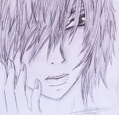 pensativo (cristi_102) Tags: anime manga portaminas lapiz sombras mangaka otaku pensativo ojo dibujo draw kawaii pensando painting blano negro artistico