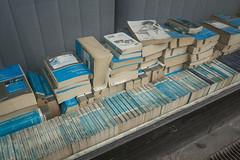 Schwacke-Liste (Goran Patlejch) Tags: cyan fade fading blue books window store monochromatic berlin schöneberg patlejch patlejh goenetix gntx schwackeliste kelleybluebooks germany pigment uv sunlight