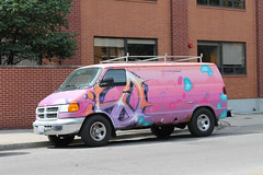 Increase The Peace (Flint Foto Factory) Tags: chicago illinois urban city summer august 2017 north wrigleyville boystown northalsted sunday morning marketdays street festival 1998 1999 2000 2001 2002 2003 dodge ram van pink color peace symbol increase parallel parked mopar