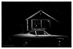 Woman in the Window (Skyelyte) Tags: vintage vintagecar mannequin farm bethanyconnecticut rural country barn historicbarn blackandwhite monochrome special windows face lowlight filmnoir oldsmobile oldsmobilecutlass cutlass