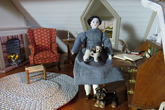 6. Writing break for Emily (Foxy Belle) Tags: dollhouse china porcelain 1800s parlor living room sitting 112 colonial attic simplicity real good toys dogs fireplace brick hearth head shoulder plate antique