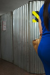 a bit of curvy color... (f_lynx) Tags: sonya7 sonyfe282 flynx blue color shadows metro girl dress yellow bag street moscow russia fun 2x3 escalator construction hair back