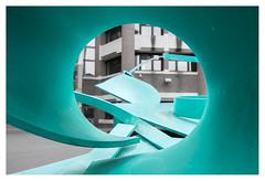 Tunnel vision (leo.roos) Tags: tunnelvisie tunnelvision kunst cyan turquoise art metalsculpture beeld architectuur architecture ministerievanbuitenlandsezaken bezuidenhoutseweg denhaag thehague a7rii sonye1628 sonyvclecu1ultrawidex075converter apsc darosa leoroos sel16f28