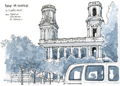Paris, Saint-Sulpice (gerard michel) Tags: france place paris sketch croquis