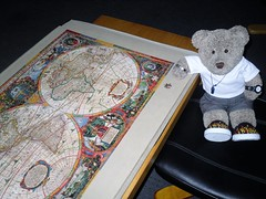 Ruddy 'eck, a missin' peece agane! (pefkosmad) Tags: jigsaw puzzle hobby pastime leisure art tedricstudmuffin teddy ted bear cute cuddly soft stuffed toy animal plush fluffy antiqueworldmap1630 pomegranate