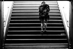 The escape (pascalcolin1) Tags: paris métro subway femme woman sortie exit escape évasion marches escaliers photoderue streetview urbanarte noiretblanc blackandwhite photopascalcolin