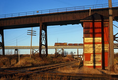 Jenswold Street Interlocking (Moffat Road) Tags: duluthmissabeironrange dmir oretrain oredocks dock6 tower emd sd18 jenswoldstreetinterlocking jenswoldstreettower duluth minnesota railroad locomotive mn dock5