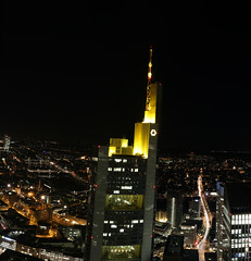 IMG_4362_stitch (AndyMc87) Tags: commerz bank tower night light ilumination iluminated city streets ezb building architecture main river wet reflection water frankfurt rheinmain hessen canon eos 6d 2470 l bridge lightstreams lighttrails pauls kirche römer top above