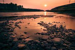 Bow River (Emin Cavalic) Tags: alberta sunset bow river water sun