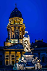 Schiller-Denkmal Berlin (Klaus Mokosch) Tags: berlin schillerdenkmal bluehour night nacht germany gendarmenmarkt skulptur city urban denkmal dom klausmokosch hdr architecture famousplace statue dome history europe monument sculpture sky urbanscene baroquestyle builtstructure church buildingexterior blue outdoors traveldestinations travel everypixel