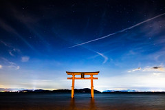under the stars (Shirahige shrine, Shiga) (Marser) Tags: xt10 fuji raw lightroom japan shiga shrine torii gate lake biwalake nightview longexposure star cloud 滋賀 白髭神社 琵琶湖 鳥居 星
