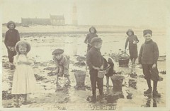 Winkle Competition at Spurn, nd (archive ref PO-1-132-3) (East Riding Archives) Tags: spurn historic photograph children winkle activity old holderness yorkshire seaside pasttime lighthouse coast life east riding