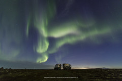 Austrians trying to sleep under Icelandic Aurora (Kjartan Guðmundur) Tags: iceland ísland landscape nightscape auroraborealis northernlights stars sky trucks canoneos5dmarkiv tokinaatx1628mmf28profx kjartanguðmundur arctic photoguide tourguide