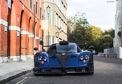 Zonda By Milson. (Gal cho photography) Tags: pagani zonda 760 750 750hp hp blue carbon bluecarbon fiber black fast track street london italian rare expensive cool exotic love best gal cho chobotaro photo photograph photographer photography israel special milson fullcarbon