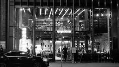 dining after dark 01 (byronv2) Tags: edinburgh edimbourg scotland blackandwhite blackwhite bw monochrome newtown saintandrewssquare edinburghbynight night nuit nacht dining restaurant window peoplewatching candid street eating