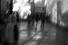 Nuit floue (Blurry Night) (JB by the Sea) Tags: montreal montréal quebec québec canada september2017 urban publicart videoinstallation expo67live quartierdesspectacles placedesarts nationalfilmboardofcanada expo67 blackandwhite bw