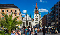sunny Munich (werner boehm *) Tags: wernerboehm munich marienplatz altesrathaus palme ludwigbeck heiliggeistkirche