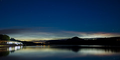 Human and natural light (Ståle Meyer) Tags: night nightshot nightsky nightscape nikon eidsvoll akershus norge norway noctilucent stars reflection river lake water waterscape sunset blue