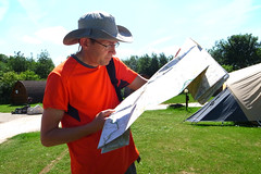 Lost ! (chrisnormandale) Tags: man cousin camping map ordnance survey candid directions orange portrait 28mm hat sun summer ricoh grd4 street photography wwwchrisnormandalecom