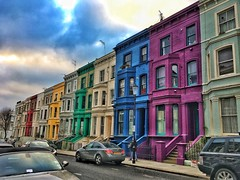London England  ~  Rainbow Row in London's Notting Hill Neighborhood (Onasill ~ Bill Badzo) Tags: london england notting hill unitedkingdom onasill historic monument attraction site tourist travel rainbow row neighborhood district west kensington chelsea carnival portobello rd road market terraces large victorian townhouses shopping high end restaurants tours walking