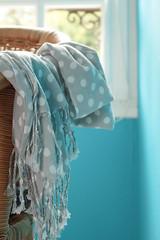 Very Useful (haberlea) Tags: france shawl cotton chair fabric grey turquoise wall window room