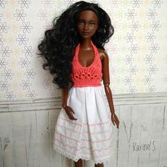 Jara (Karine'S HCF (Handmade Clothing & Furniture)) Tags: barbie vestido coral hecho mano handmade dress doll ooak top punto