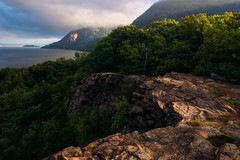 APPROACHING FOG (pidalaphoto) Tags: sun coldspringny hudsonhighlands atmospheric sunrise rock littlestonypoint cloudy scenic mountains river fog hudsonriver light hudsonhighlandsstatepark hudsonvalley