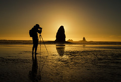 Nikon @ Cannon (Carl's Captures) Tags: cannonbeachoregon clatsopcounty pacificocean thepacificnorthwest haystackrock seastack monolith sunset seascape photographer tripod lowtide tolovanabeach theneedles pacificcoast shoreline column landform erosion geologicalformation sea saltwater photography outdoors landscape reflections silhouette august summer evening dusk ripples gold golden backlight horizon nikond5100 tamron18270 lightroom5 photoshopbyfehlfarben thanksbinexo