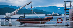 2017 - Road Trip - Kootenay Lake Ferry - 4 of 5 (Ted's photos - For Me & You) Tags: 2017 bc canada cropped nikon nikond750 nikonfx tedmcgrath tedsphotos vignetting kootenaylake lake water osprey2000 boat yamaha crane railing ferry osprey2000ferry ferryboat stairs steps